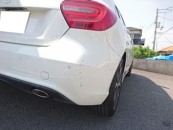 ベンツ「Aクラス」、リアバンパー修理! / 和歌山の板金塗装・自動車修理はプロモワカヤマ