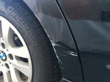 右クォーターのキズ修理。BMW「3シリーズ」 / 和歌山の板金塗装・自動車修理はプロモワカヤマ